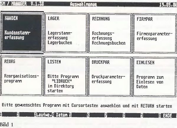 st computer 07 1986 st manager kunden lager rechnung. Black Bedroom Furniture Sets. Home Design Ideas